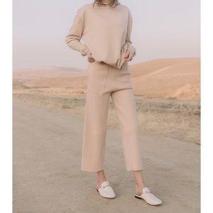 ElleandEm wide leg crop lounger pants